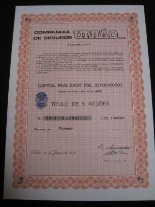 Union Insurance Company - Five Share Certified 1975 photo
