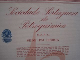 Portuguese Society Of Petrochemical - Five Share Certified 1961 photo