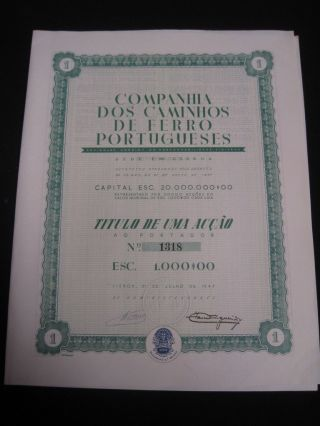 Company Of Portuguese Railways - One Share Certified - 1947 photo