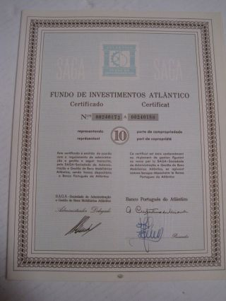 Investment Fund Atlantico - Ten Certified Share 1965 photo
