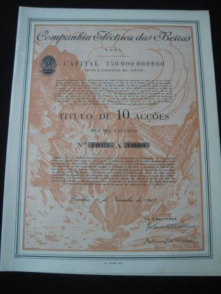 The Electric Company Of Beiras Portugal - Ten Share Certified 1963 photo
