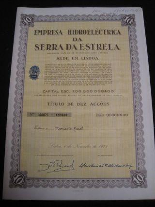 Hydroelectric Company Of Serra Da Estrela - Ten Share Certified 1972 photo