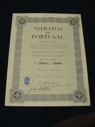 Nitrates From Portugal - Ten Share Certified 1967 photo
