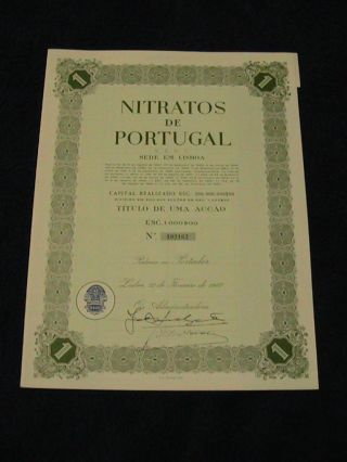 Nitrates From Portugal - One Share Certified 1967 photo