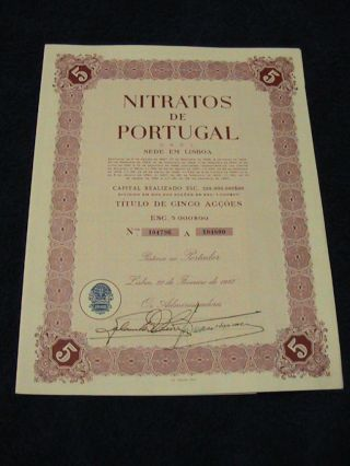 Nitrates From Portugal - Five Share Certified 1967 photo
