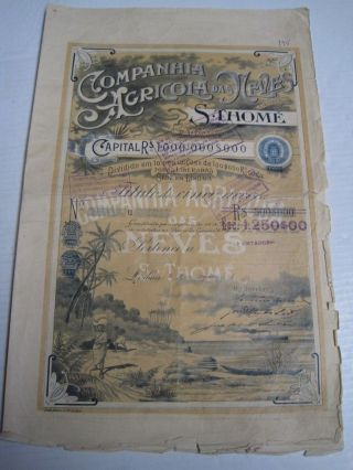 Agricultural Company Das Neves S.  Thomé - Five Share Certified 1909 photo