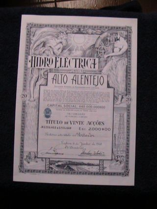 Hydroelectric Alto Alentejo - Twenty Share Certified 1968 photo