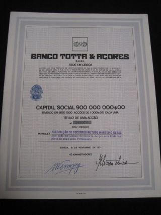 Bank Totta & Açores - One Share Certified 1971 photo
