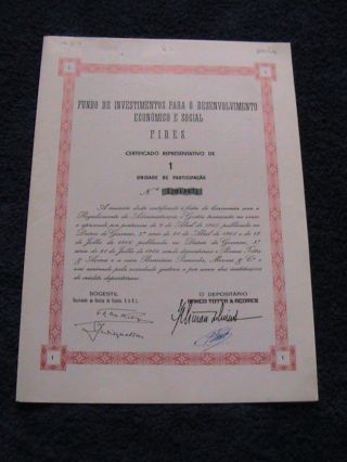 Investment Fund For Economic Development And Social - One Certified Share 1966 photo