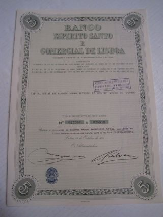 Holy Spirit And Commercial Bank Of Lisbon - Five Share Certified 1970 photo