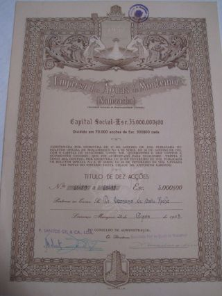 Company Of The Waters Montemor - Ten Share Certified 1953 photo