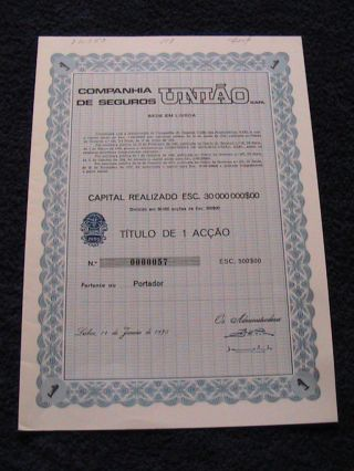 Union Insurance Company - One Share Certified 1975 photo