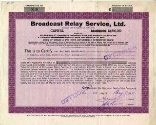 Uk United Kingdom: Broadcast Relay Service Ltd.  100 Pounds 1951 photo