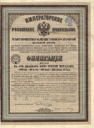 Russia: Tambow - Saratow Rr 125 Roubles 1882 photo