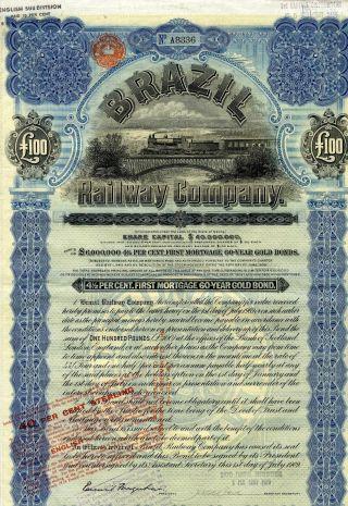 Brazil - Bresil Railway Company Gold Bond Emprunt Obligation 100 Pounds 1909 photo