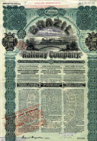 Brazil - Bresil Railway Company Bond Emprunt Obligation 500 Francs 1909 photo