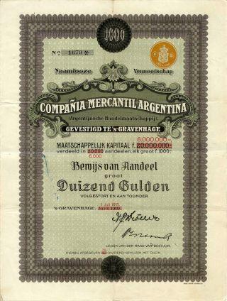 Argentina: Compania Mercantil Argentina Trading Co 1000 Gulden 1915 photo