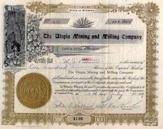 1909 Utopia Mining & Milling Stock Certificate photo
