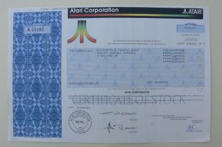 Gamers - Bankrupt Video Game Atari Stock Certificate Very photo