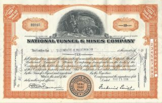1938 National Tunnel & Mines Co.  Stock Certificate 10 Shares photo
