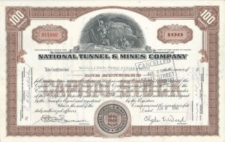 1946 National Tunnel & Mines Co.  Stock Certificate 100 Shares photo