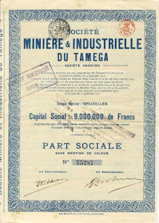 Russia - Belgium : Mines & Industries Of Tamega About 1923 photo