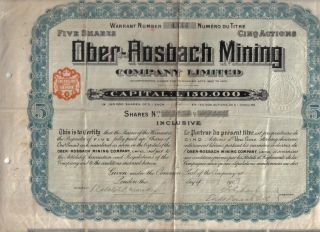 Germany 1907 Ober Rosbach Mining Company 5 Shares £5 Uncancelled Coup photo