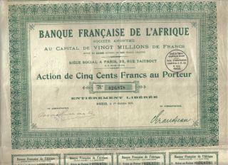 West Africa France 1924 Bank French Banque Francaise Afrique 500 Fr Uncancelled photo