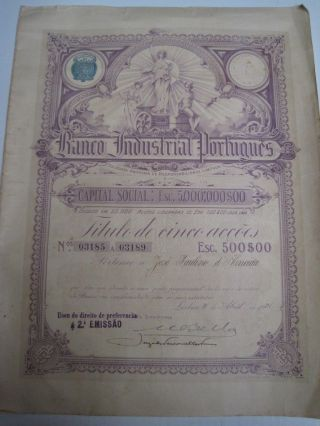 Portuguese Industrial Bank - Five Shares Certificate - 1921 photo