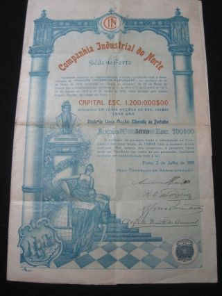 Companhia Industrial Do Norte - One Share - 1919 Portugal photo