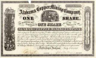 1855 Alabama Copper Mining Stock Certificate photo