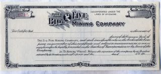 Big Five Mining Company Stock Certificate Wyoming photo