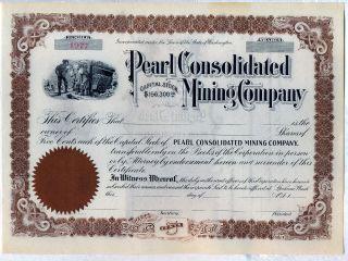 Pearl Consolidated Mining Company Stock Certificate Spokane Washington photo