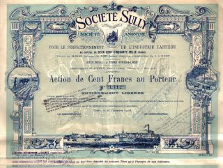France Bond 1908 Society Sully 100 Fr Top Deco Uncancelled Coupons Issued 2500 photo