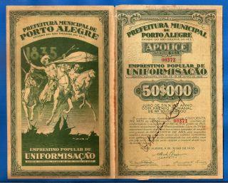 Brazil Porto Alegre Emprestimo 50 000 Reis 1935 Bond Rarely Brasil photo