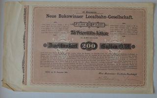 Austria Neue Bukowinaer Localbahn 25 Prioritäts - Actien Ii.  Emission 1898 photo