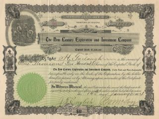 Vintage Stock Certificate / The Century Exploration And Investment Company photo