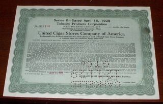 United Cigar Stores Company Of America Stock Dividend Certificate 1928 photo