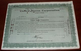 United Stores Corp Temporary Stock Certificate October 28 1929 Black Tuesday photo