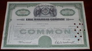 Erie Railroad Company Stock Certificate 50 Shares 1952 photo