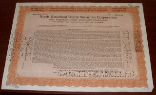 North American Utility Securities Corporation Preferred Stock Certificate 1925 photo