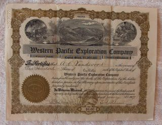 Western Pacific Exploration Company Stock Certificate - 1907 photo