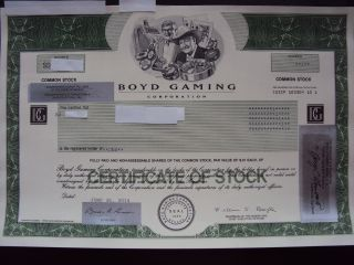 Boyd Gaming Stock Certificate photo