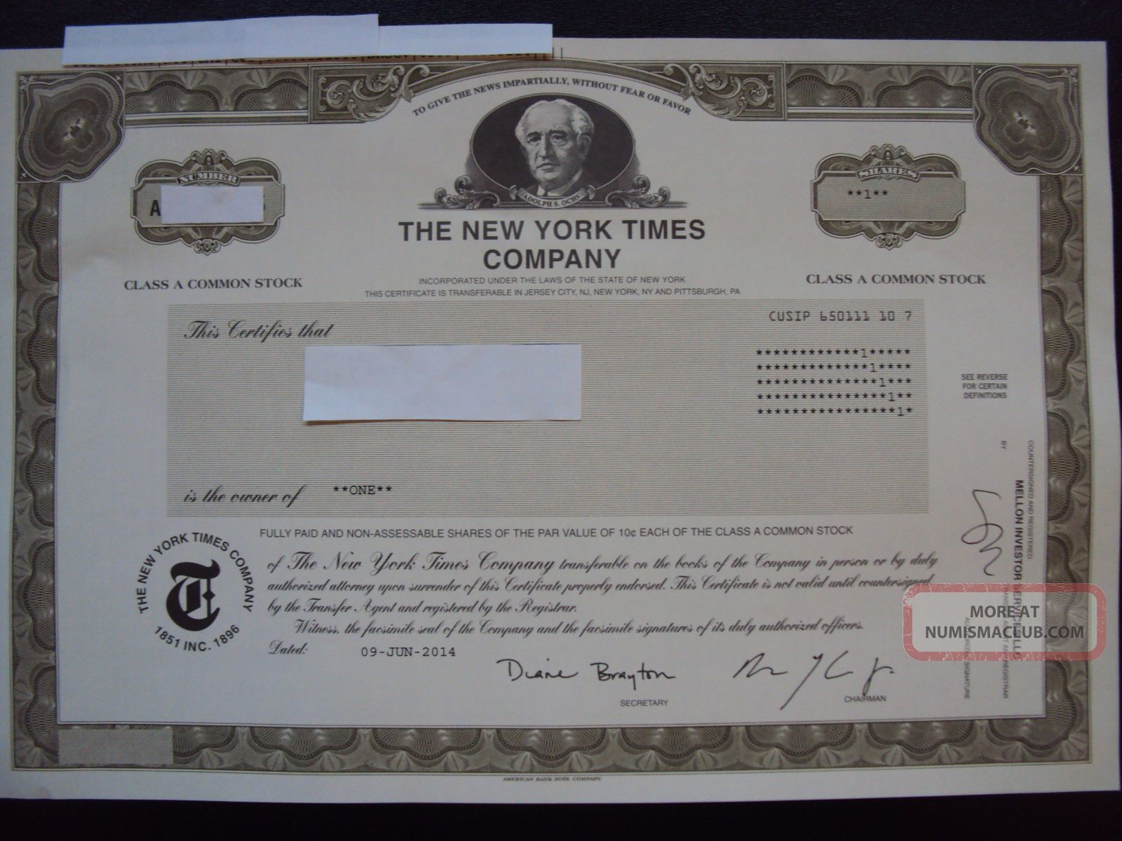 The York Times Stock Certificate Stocks & Bonds, Scripophily photo