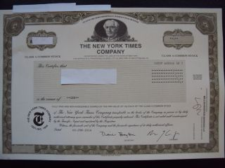 The York Times Stock Certificate photo