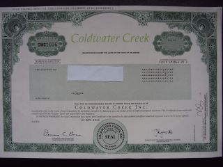 Coldwater Creek Stock Certificate photo