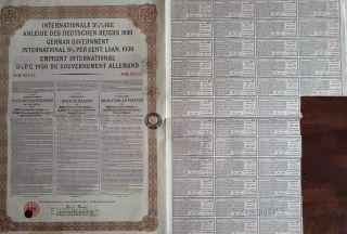 Germany German 1930 Emprunt Gouvernement Allemand 500 Franc Loan Bond photo