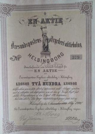 Sweden 1906 Aktiebolag Helsingborg 200 Kr Bond Share Loan photo