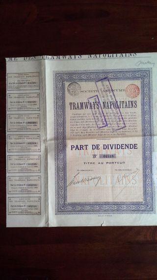 Italy Italian 1908 Tramways Napolitains Bond Loan photo
