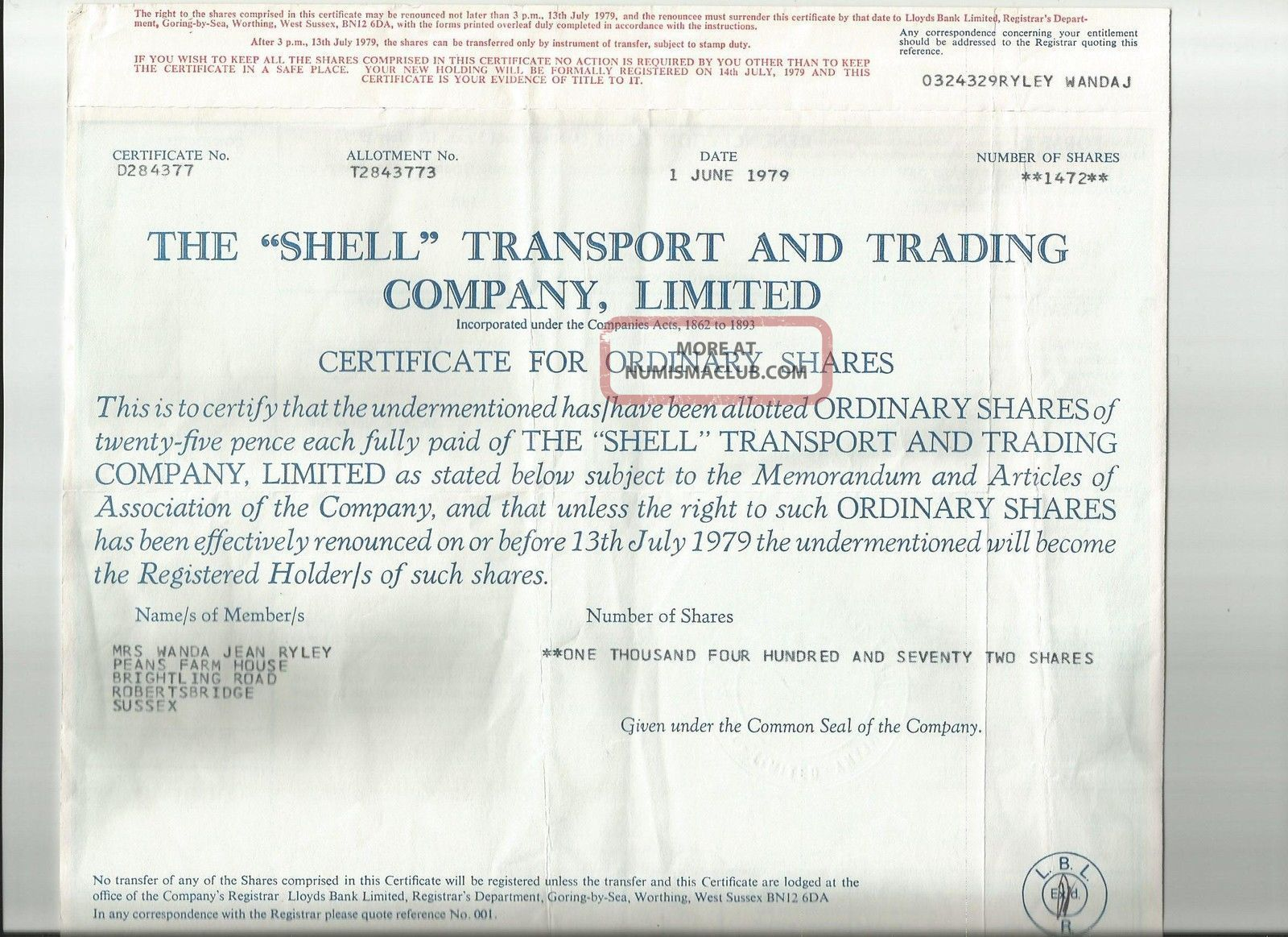 Uk British 1979 Famous Shell Petroleum Company Lloyds Bank 1472 Shares Bond Loan World photo
